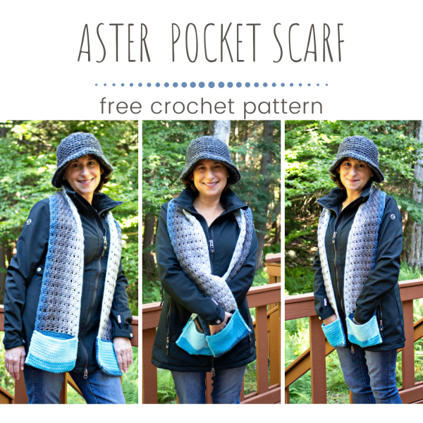 Free Crochet Pattern: Aster Pocket Scarf