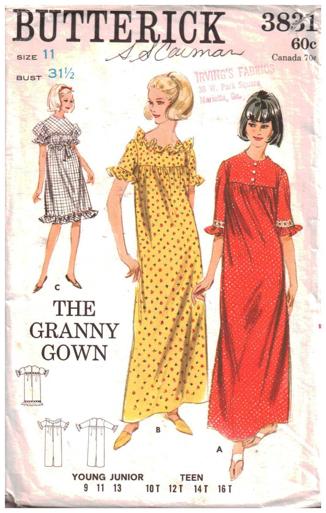 Butterick 3831 The Granny Gown - Dress Size: 11 Bust 31.5 Used ...