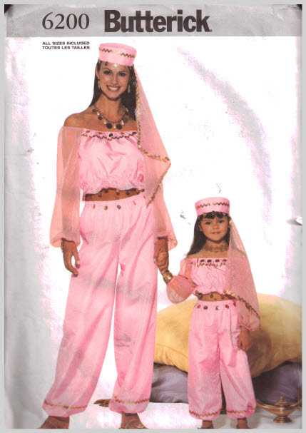 Butterick 6200 Misses\', Girl\'s Costume - Belly Dancer Size: 2-8 and ...