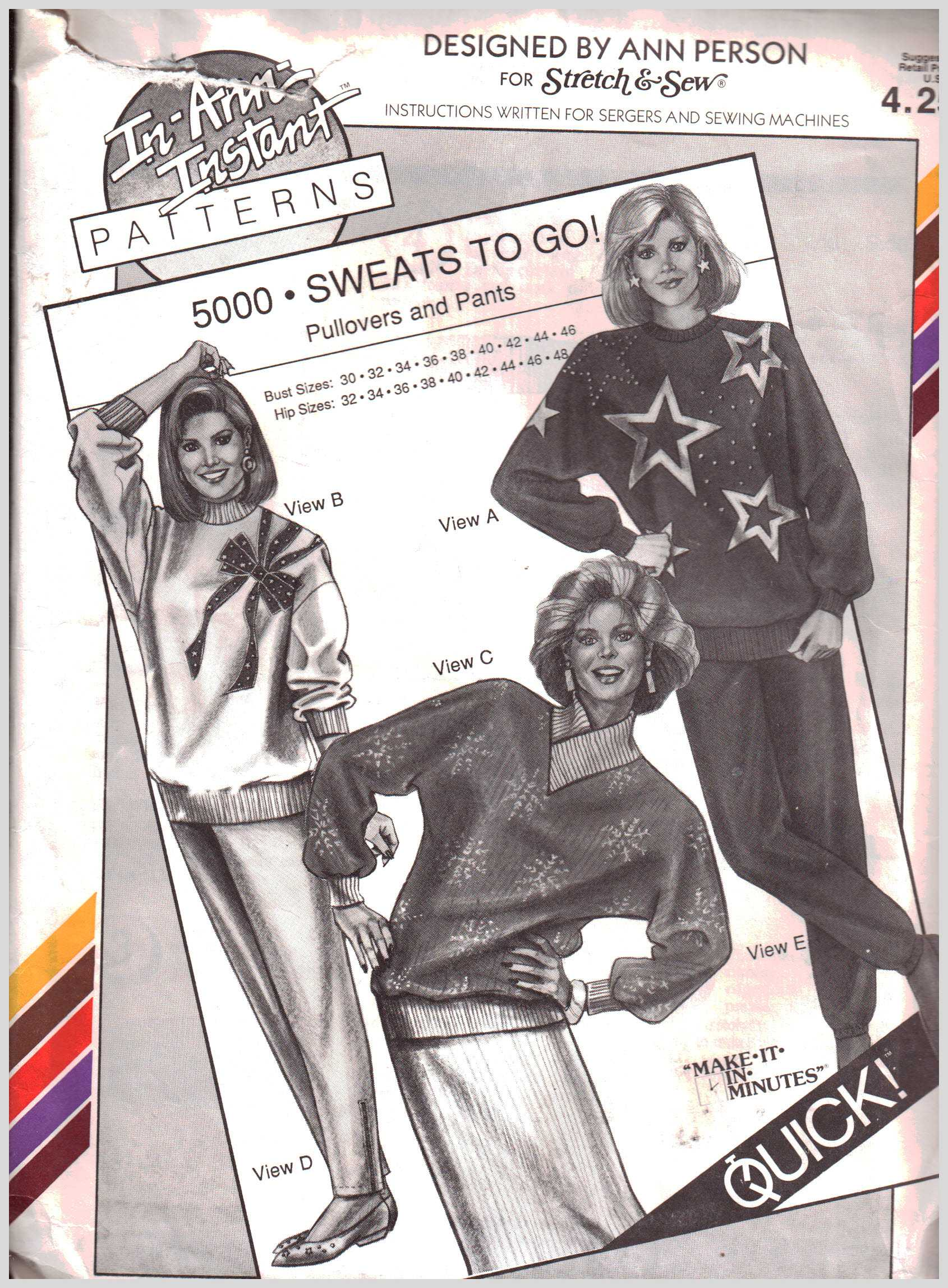 Stretch & Sew 5000 Sweats to Go! Pullovers and Pants Size: Bust 30 ...
