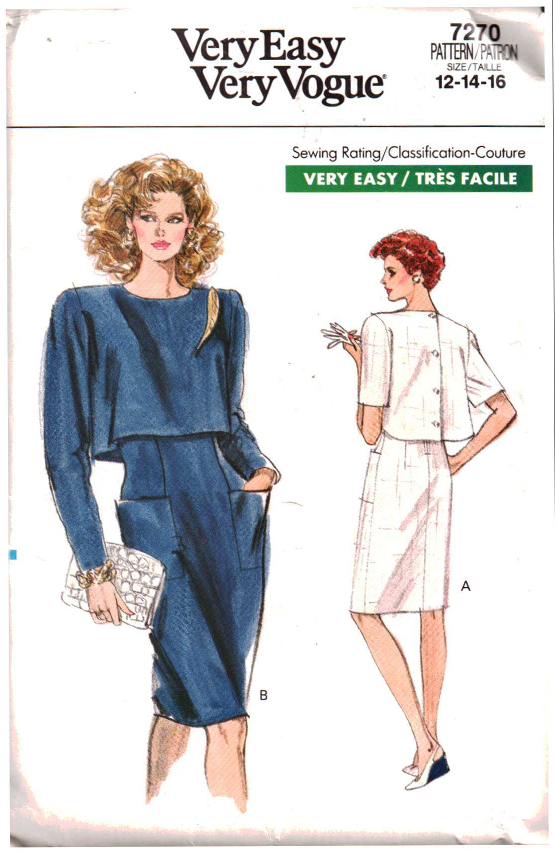328011da33cc Vogue 7270 Misses    Misses  Petite Dress Size  6-8-10 or 12-14-16 Used Sewing  Pattern