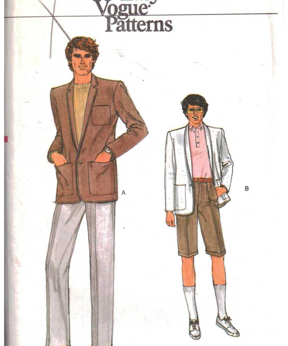 Vogue 7418 Men\'s Jacket, Pants, Shorts Size: 38 Uncut Sewing Pattern