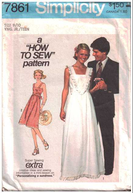 Simplicity 7861 Dress in two lengths Size: 11/12J Used Sewing Pattern