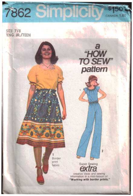 Simplicity 7862 Skirt, Pants, Blouse Size: 7/8J Used Sewing Pattern