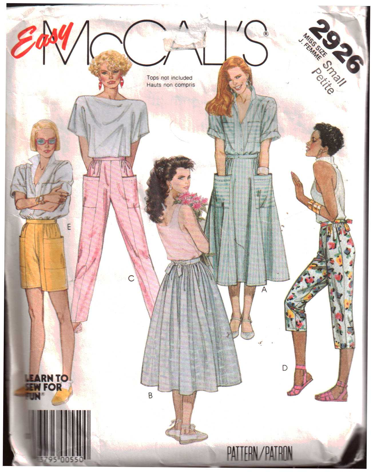 1b43e8a28d4a8 McCall's 2926 Skirt, Pants, Shorts Size: 10-12 Used Sewing Pattern