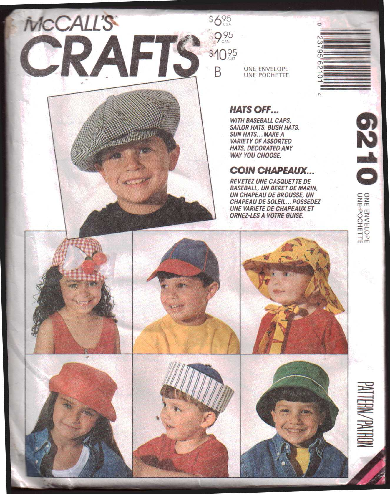 96c6c58609a McCall s 6210 Childrens Hats  - Baseball Cap