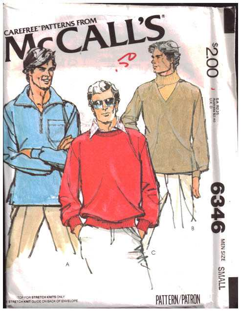 Mccalls 6346 Mens Tops For Stretch Knit Size 34 36 Uncut Sewing