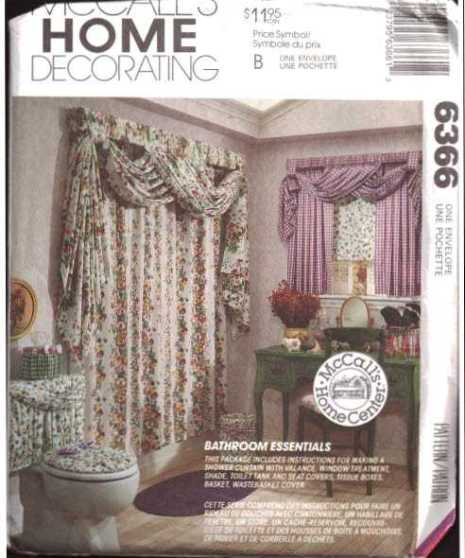 Mccalls 6366 Bathroom Swag Curtain Window Treatment Toilet
