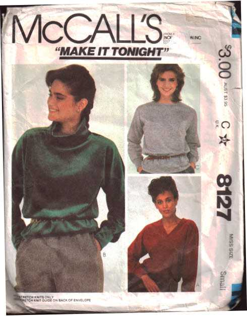 Mccalls 8127 Tops For Stretch Knit Size 10 12 Used Sewing Pattern