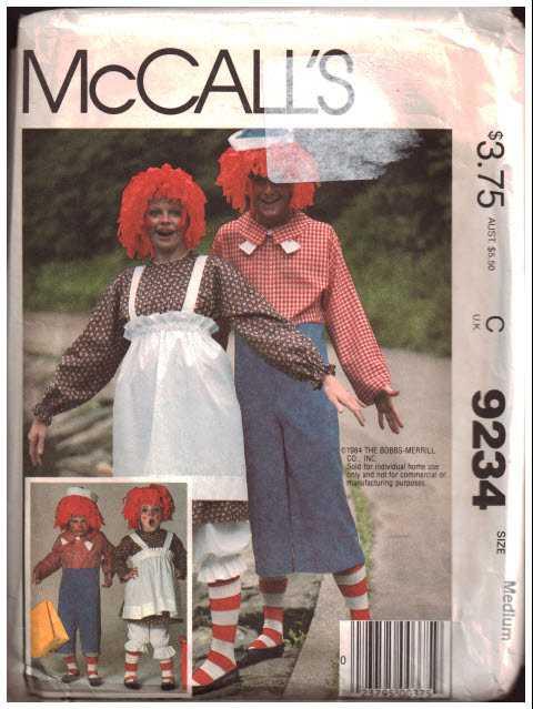 McCall\'s 9234 Raggedy Ann, Raggedy Andy Costumes Size: M 36-38 Uncut ...