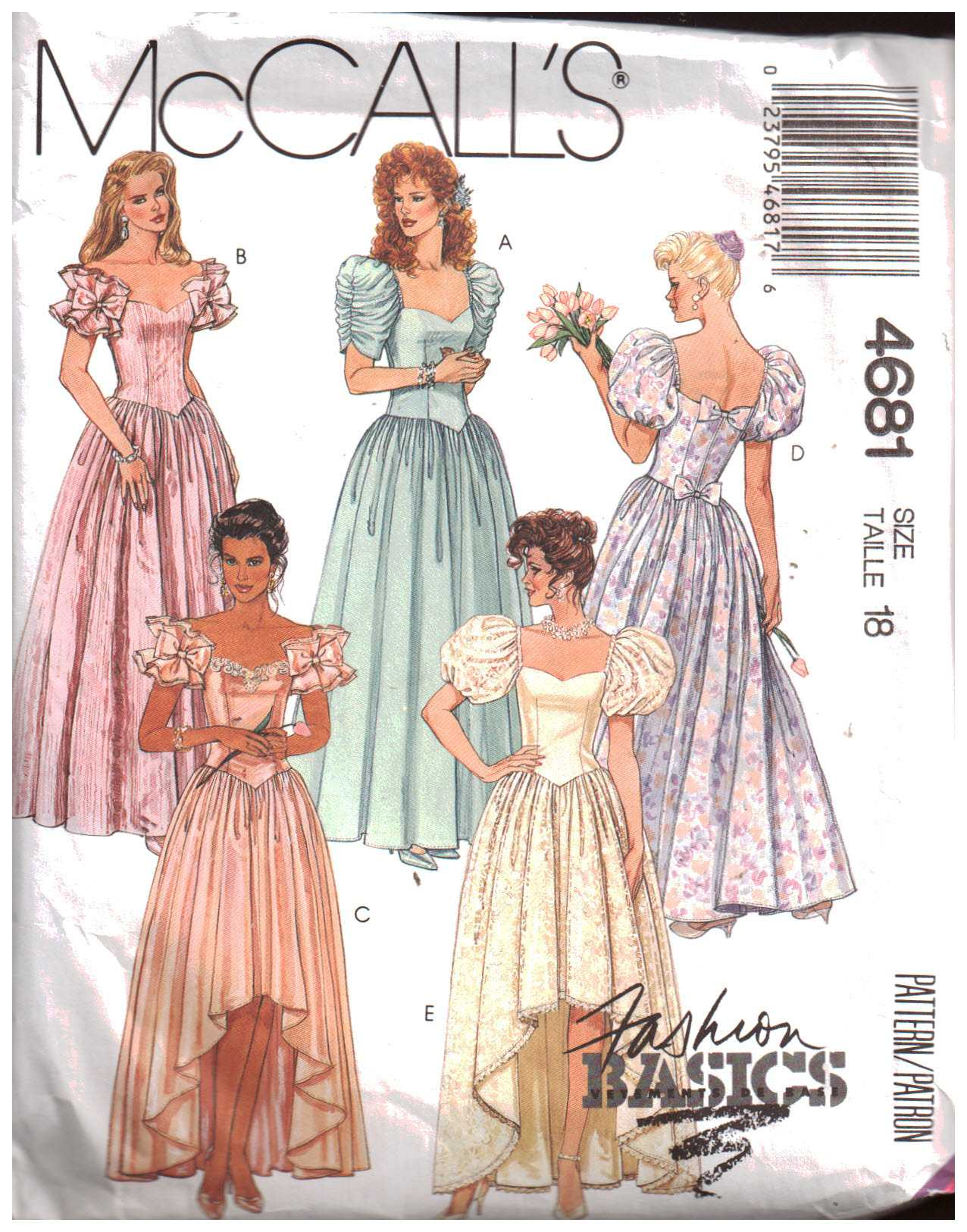 McCall\'s 4681 Evening Gown Size: 18 Used Sewing Pattern