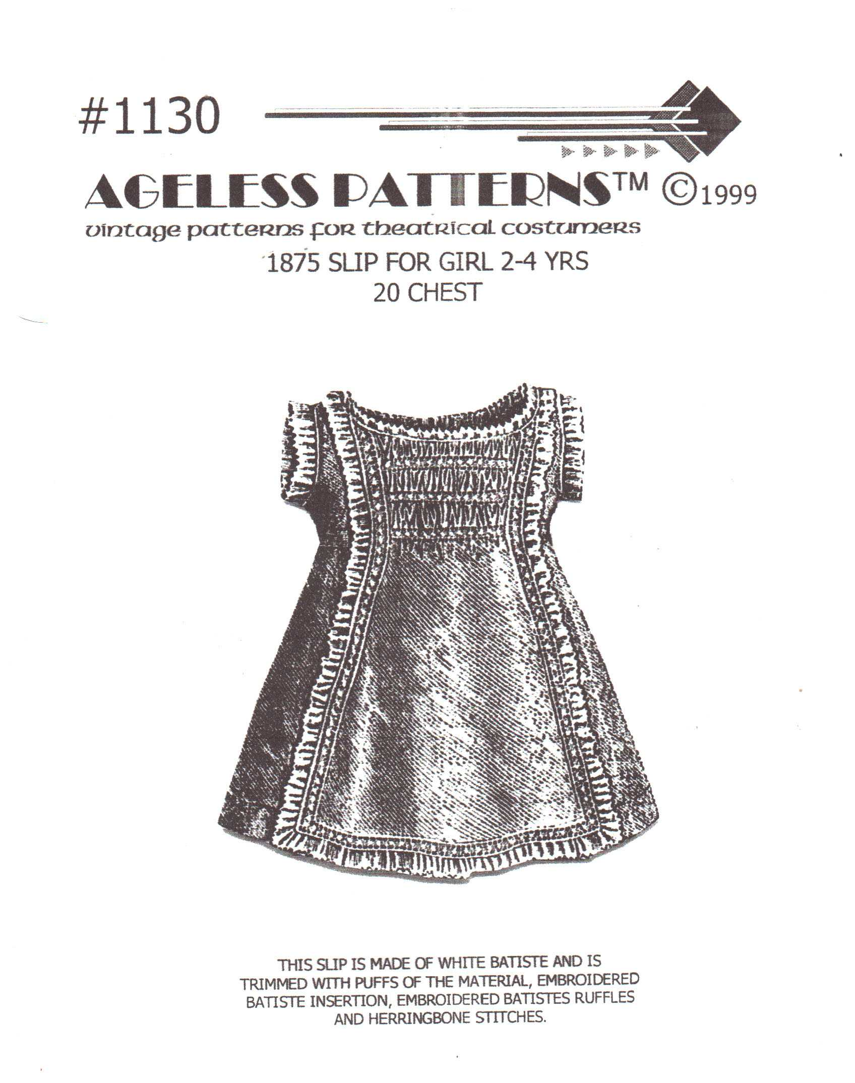 Ageless Patterns 1130 Vintage Pattern For Theatrical Costumes Slip For Girls 2 4 Uncut Sewing Pattern