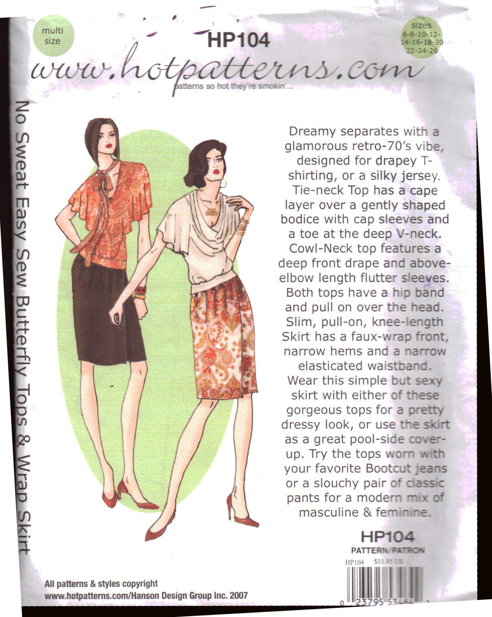 Hot Patterns HP104 Butterfly Tops, Wrap Skirt Size: 6-26 Uncut ...