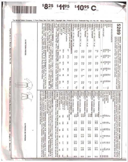McCalls 5289 J 1