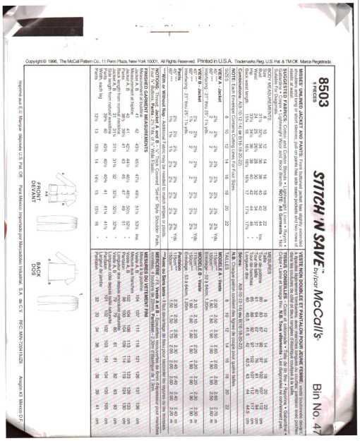 McCalls 8503 J 1
