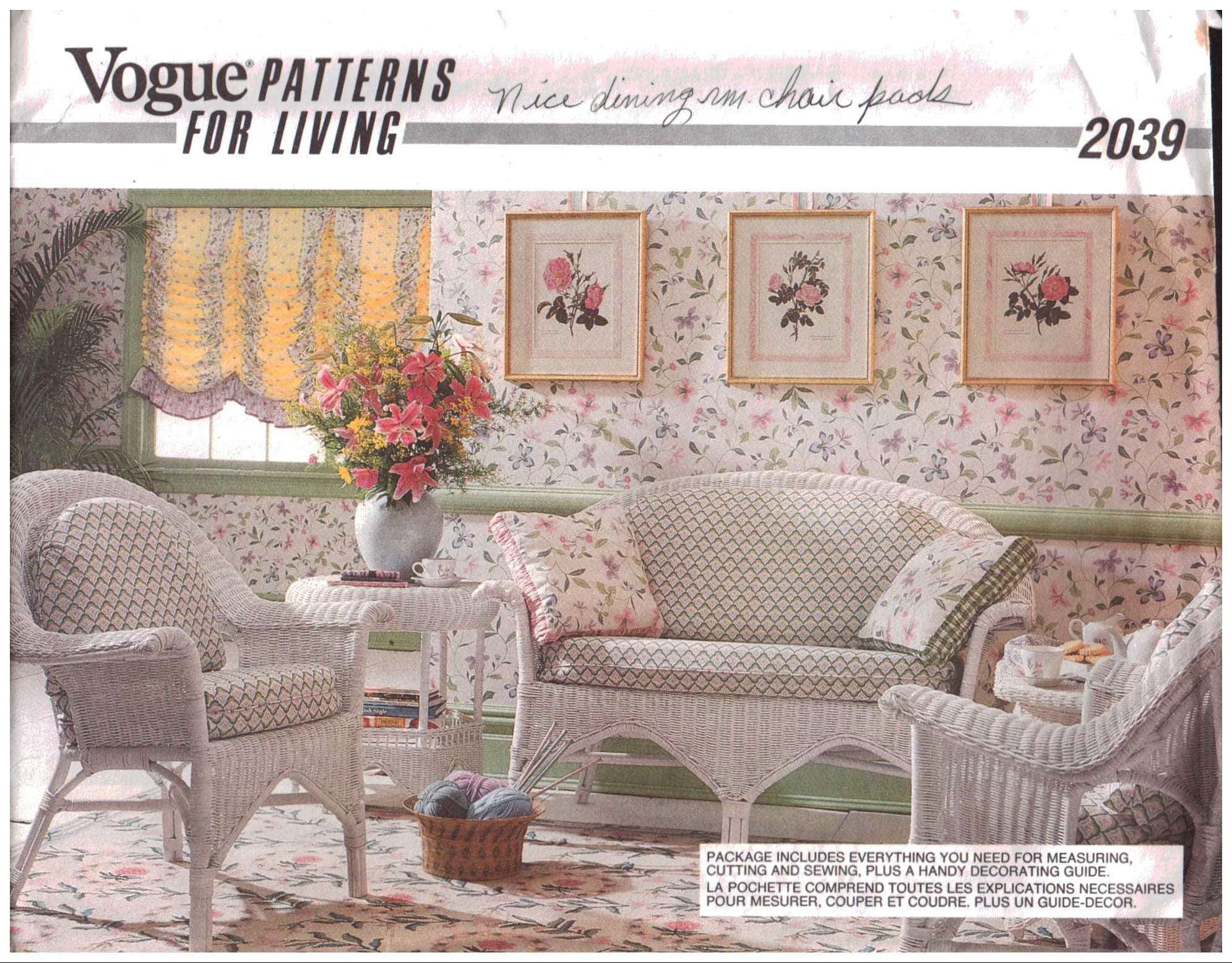 sewing patterns for chair cushions wooden porch rocking chairs vogue 2039 decor dinning room and pads size one uncut pattern