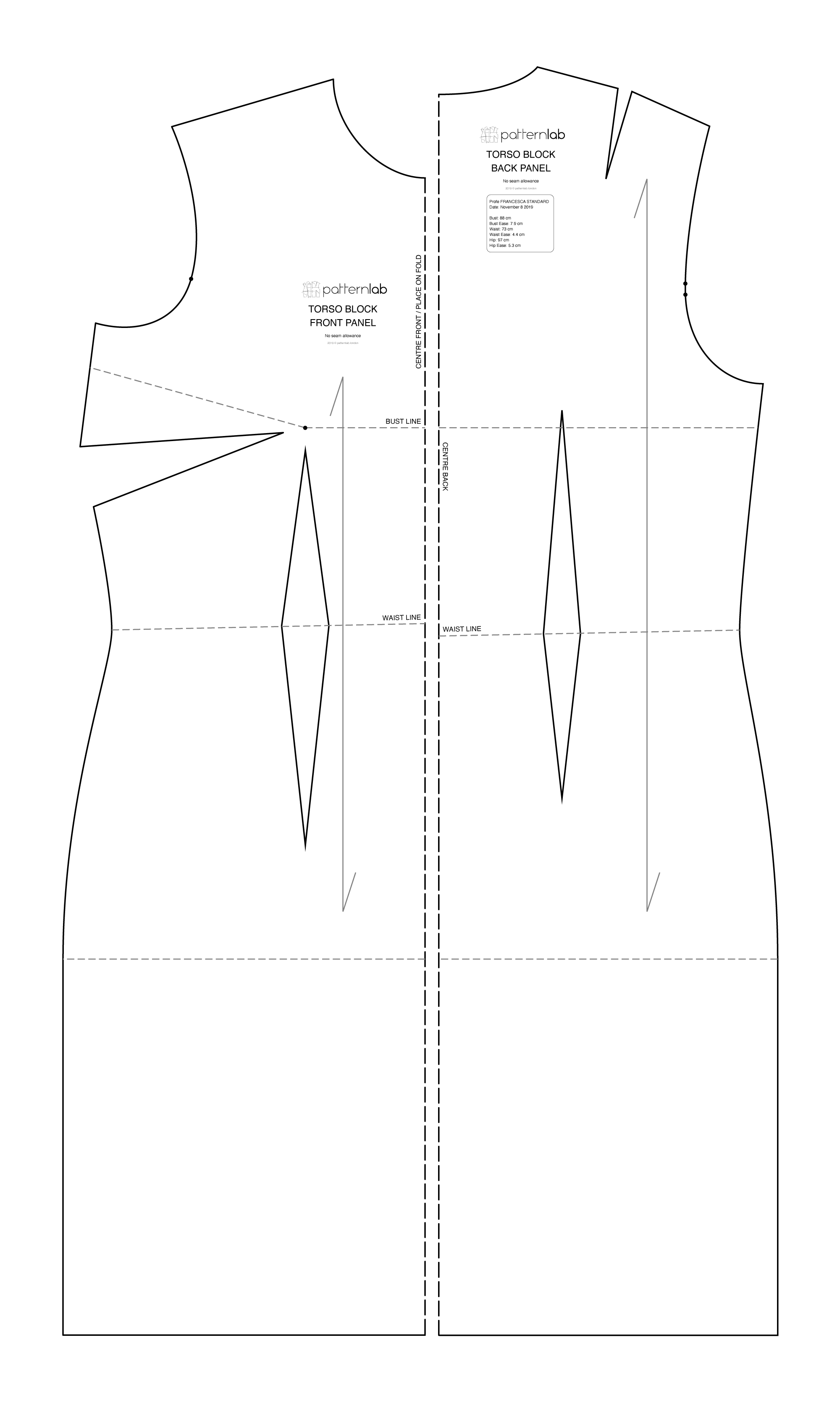 Basic Sewing Patterns and Slopers To Fit Your Measuremnts