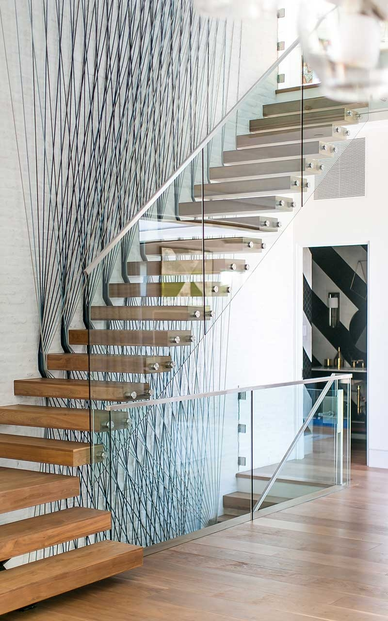 Port Street Mid Century Modern Stairs Interior Patterson Custom | Mid Century Modern Stair Handrail | Vertical | Decorative | Fixer Up | Living Room | Contemporary Curved Staircase