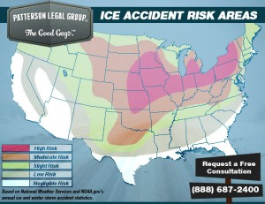 This graph highlights Snow and Ice Auto Accident Statistics by separating them into several zones.  Kansas is in the highest risk zone for snow and ice related road accidents.