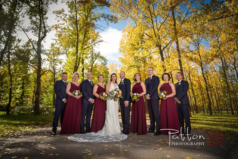 Calgary bridal party standing in park