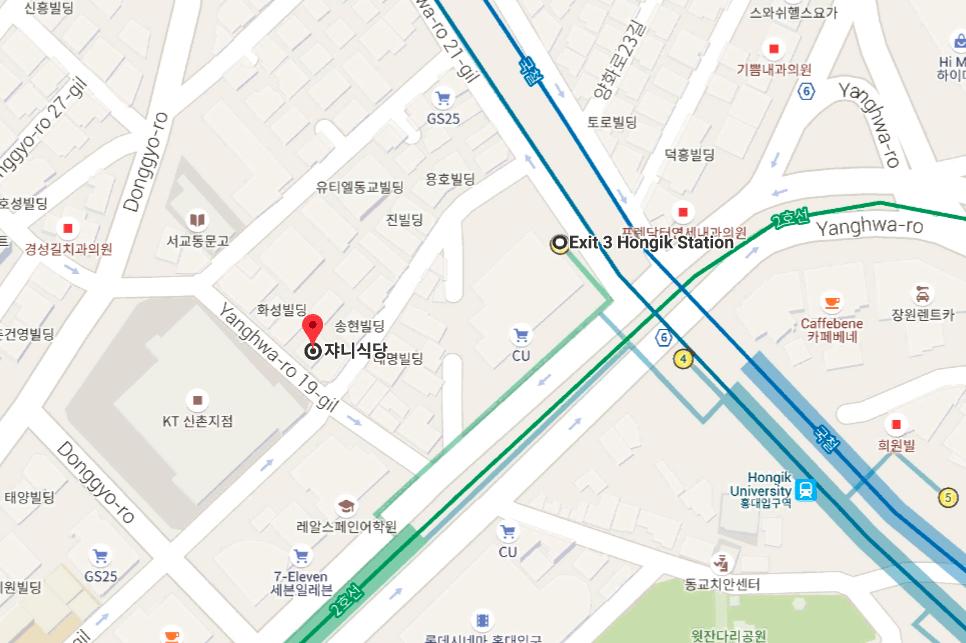 弘大美食推薦-쟈니식당 Johnny食堂-地圖
