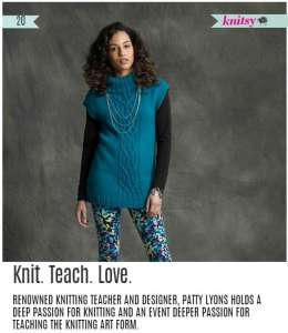 """Knit. Teach. Love."" in Knitsy Magazine"