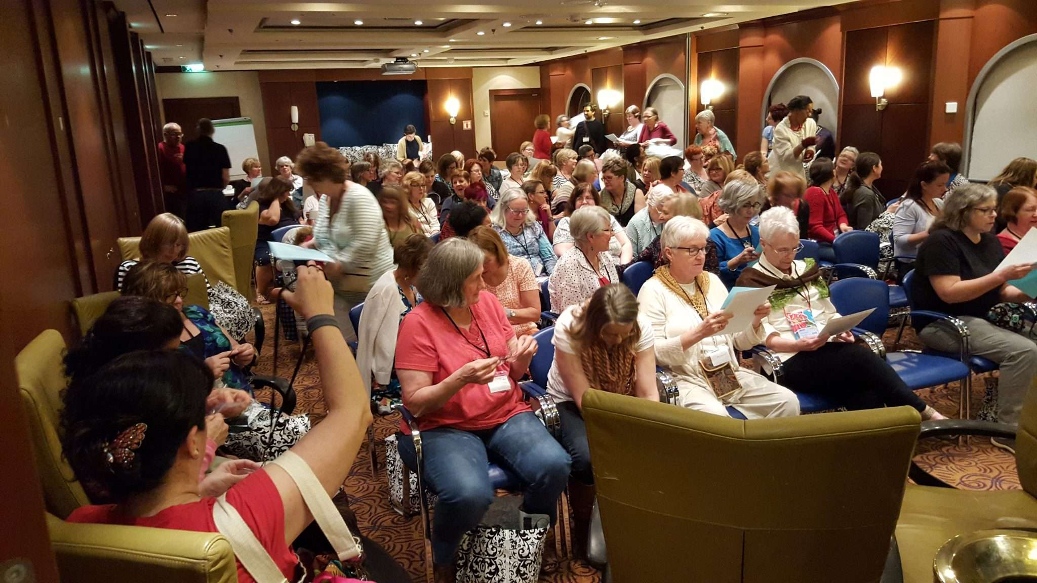 This is what over 100 knitters look like on a cruise!