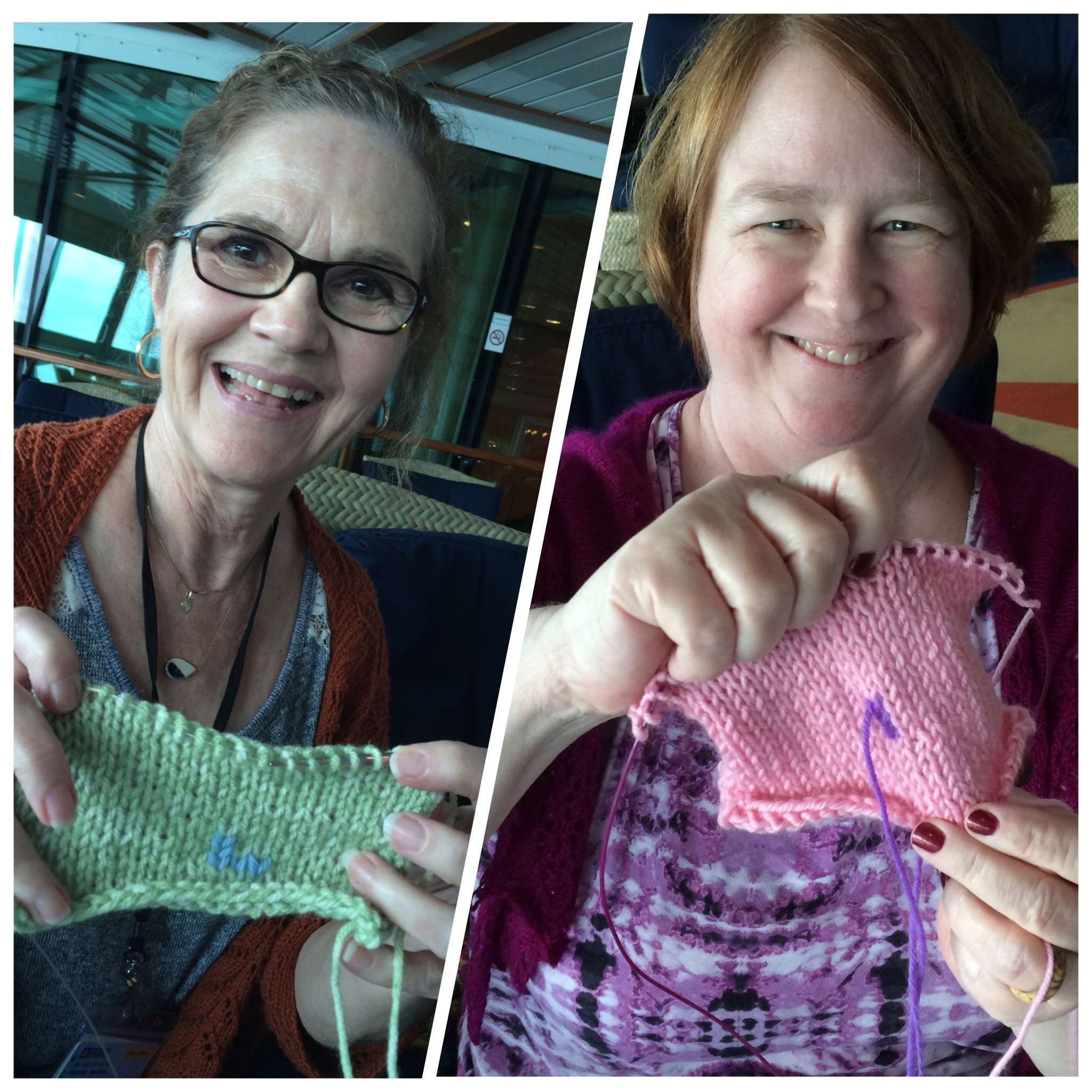 "Brilliant students with their much improved knitting after ""Improve Your Knitting Technique"" class"