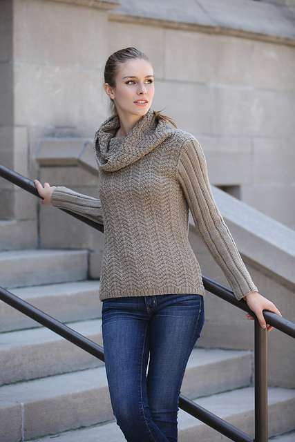 Herringbone Cowl Pullover from Patty Lyons Patterns