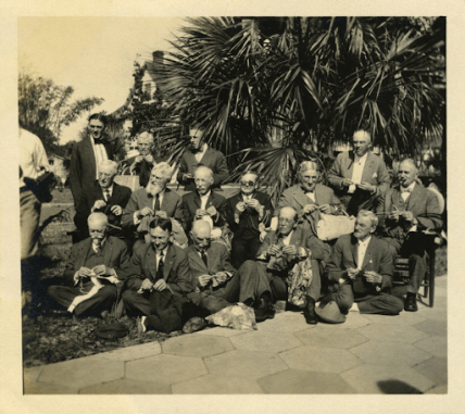 """Men's knitting group, Florida, ca. 1918"""