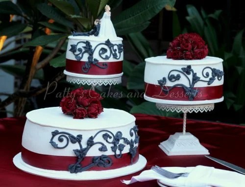 Red Wedding Cakes White Black Cake