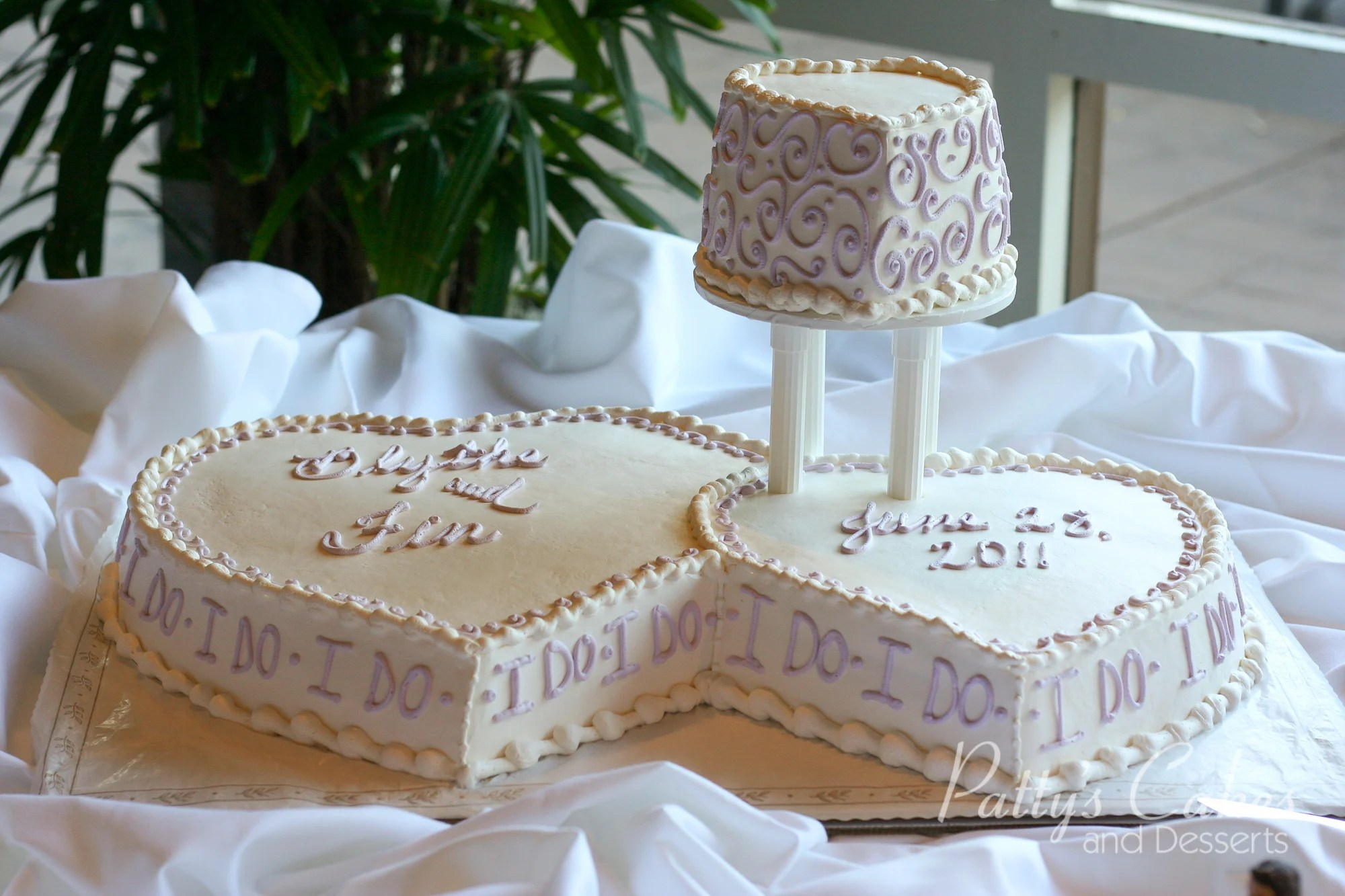 Photo of a double heart wedding cake  Pattys Cakes and Desserts