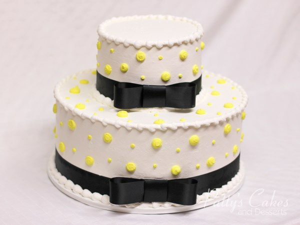 White Yellow Black Ribbon 2 Tier Cake - Patty'