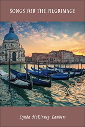 The front cover of this book features a gorgeous photo of Venice, Italy, taken at sunset. Six blue and black gondolas are at rest on the water in the foreground, and a blue and white cathedral and several additional buildings are in the background, on the far shore. The top and bottom cover bands are a deep reddish brown, echoing the color of the buildings to the right of the cathedral. The lettering for the title and the author's name is very pale gray, almost white. On the back cover are the synopsis, a short poem, and a photo of the author. A larger version of that same photo is in the book.