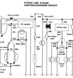 the us xt500 wiring diagram for 1980 and 1981  [ 1571 x 1065 Pixel ]
