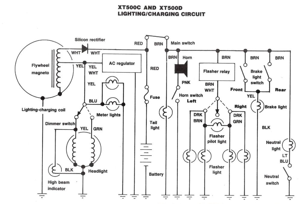 medium resolution of the us xt500 wiring diagram for 1980 and 1981