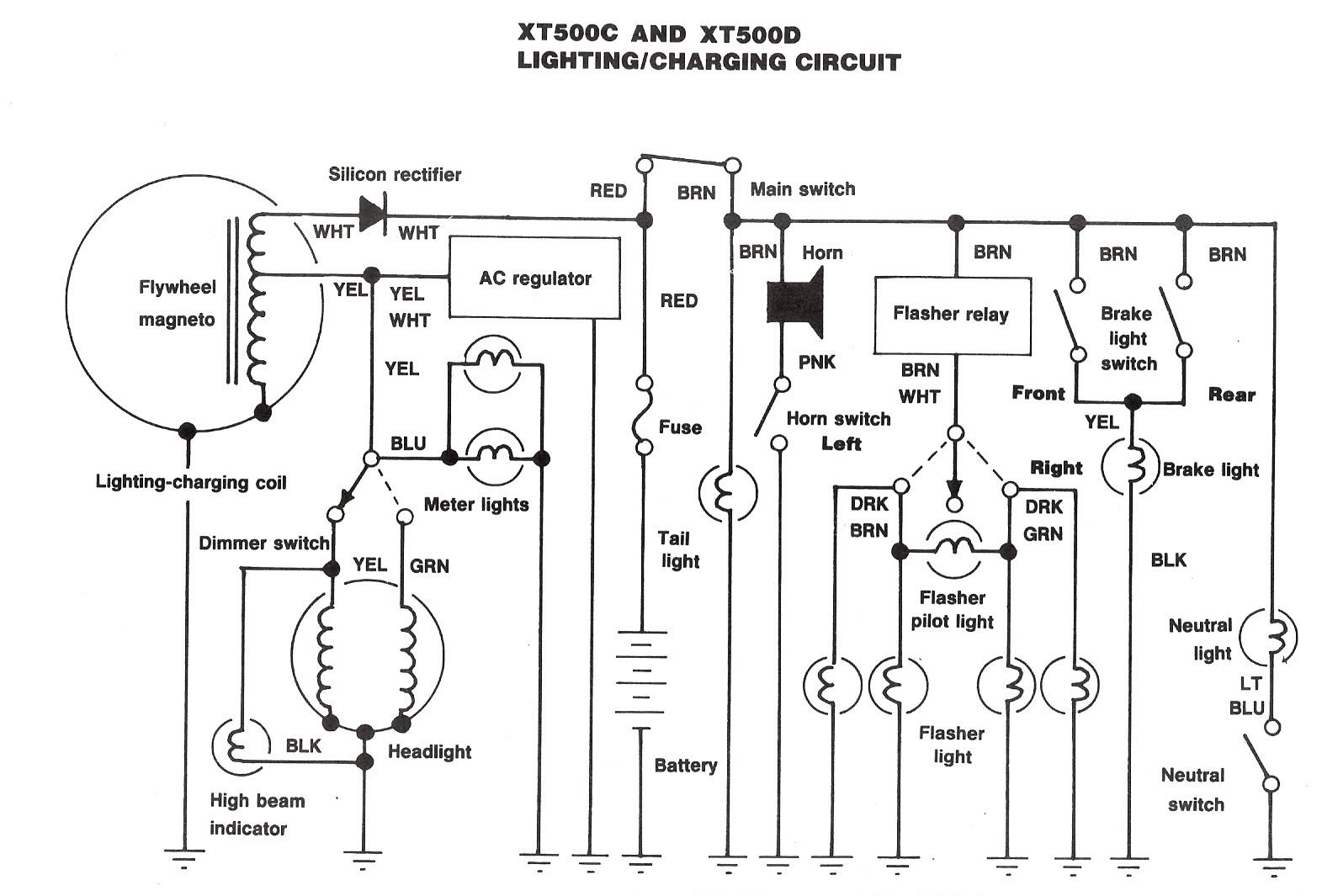 hight resolution of the us xt500 wiring diagram for 1980 and 1981