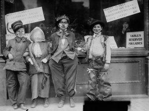 Children ready for Thanksgiving circa 1910. Bain News Services/Library of Congress