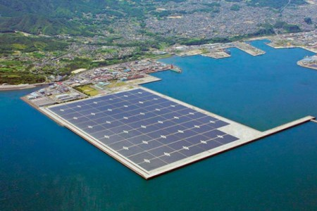 One of Kyocera's existing solar power plants, which has 70 MW of power capacity and sticks out into Kagoshima Bay in southern Japan.