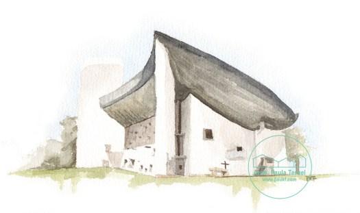 RONCHAMP chapelle le CORBUSIER illustration illustrazione ilustracion acuarela watercolor by PAUKF pkf arch paula teruel arquitectura architecture