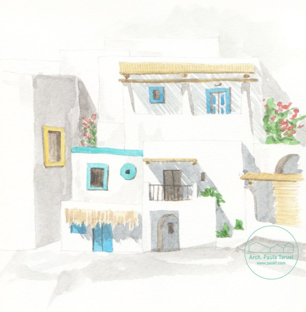 ARCHITETTURA PECORINI MEDITERRANEO WATERCOLOUR ILLUSTRATION ILLUSTRAZIONE BY PAUKF