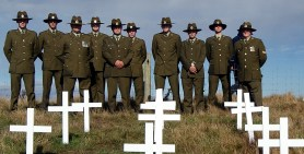 Soldiers by the crosses