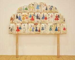 Daddy's Girl, 110x120x10cm, vintage sewing patterns, watercolour, headboard legs (2012)