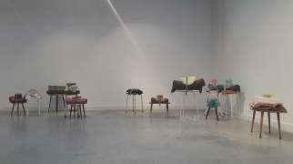 Runaway Objects, dimensions variable, footstools, cushions, belts, Tupperware (2018)