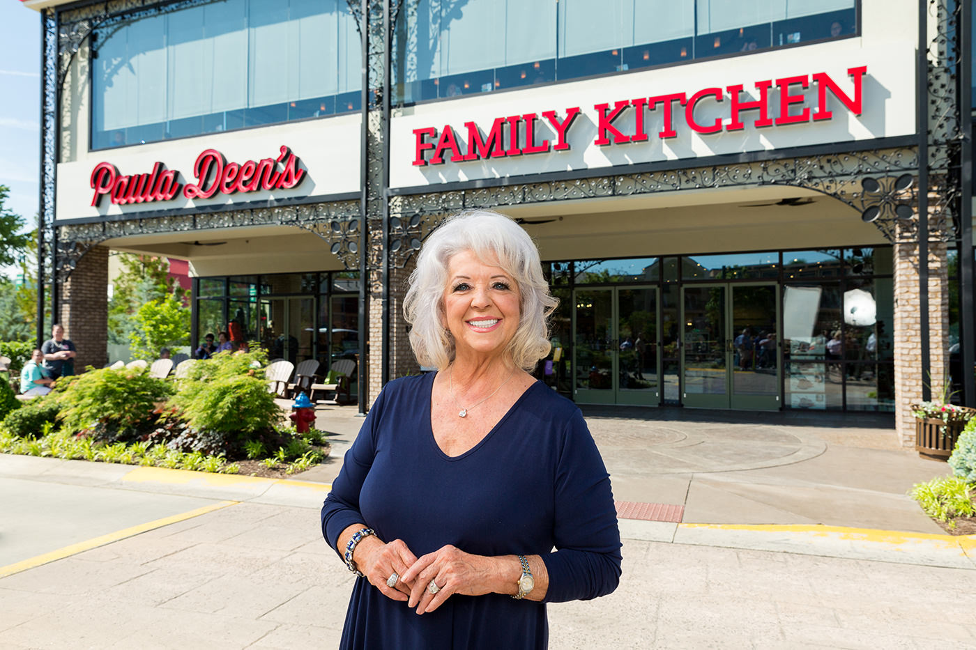 paula deen kitchen retro clock s family at the island in pigeon forge