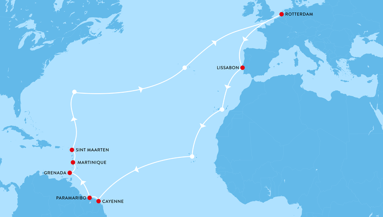 Map with the route of my sailing trip