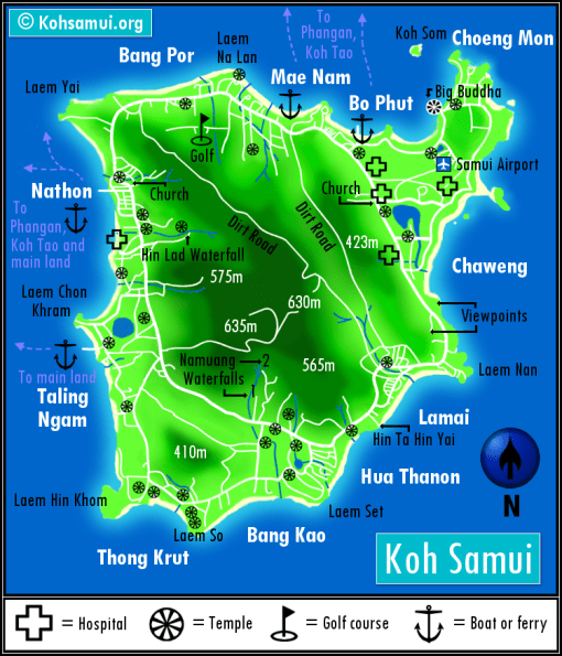 Guide to the beautiful beaches of Koh Samui Thailand by Paul and Carole map beach