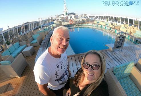 Fred Olsen Braemar cruise ship pool deck view.#fredolsen #fredolsencruiseline #braemar #cruiseship #choosecruise #cruising #cruise #paulandcarole