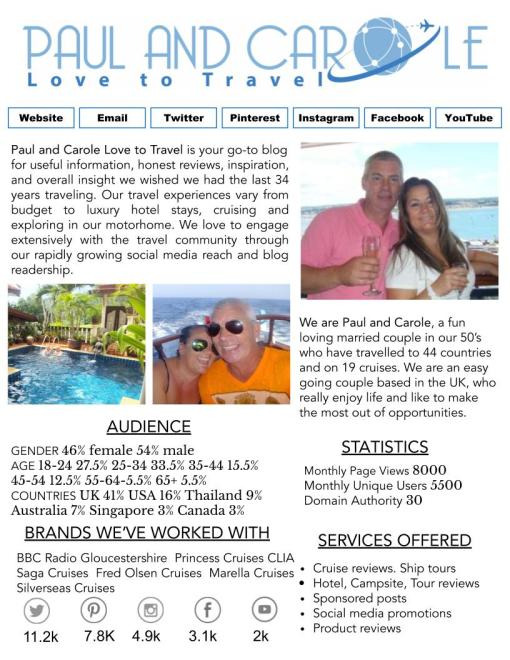 Media Kit Paul and Carole Love to Travel