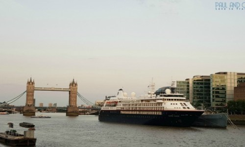 Silversea Silver Cloud moored in front of tower bridge in London - Paul and Carole 2019 Review  #Silverseas #expeditioncruises #SilverseasSilvercloud #paulandcarole2019review #paulandcarole #travel #travelbloggers #travelvloggers